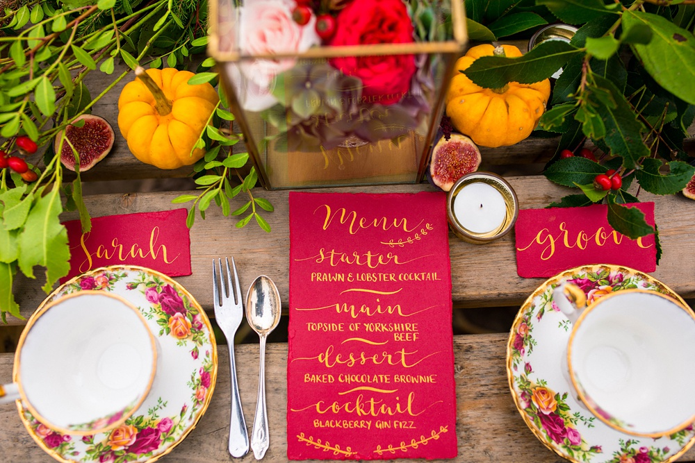 Beautiful calligraphy on red stationery by Sally JAne Calligraphy